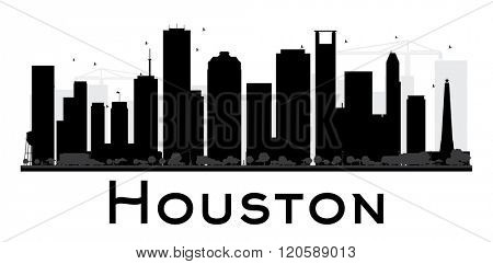 Houston City skyline black and white silhouette. Vector illustration. Simple flat concept for tourism presentation, banner, placard or web site. Business travel concept. Cityscape with landmarks