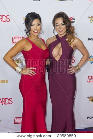 LAS VEGAS - JAN 23 : Adult film actresses London Keyes (L) and Mia Lelani attend the 2016 Adult Video News Awards at the Hard Rock Hotel & Casino on January 23 2016 in Las Vegas.
