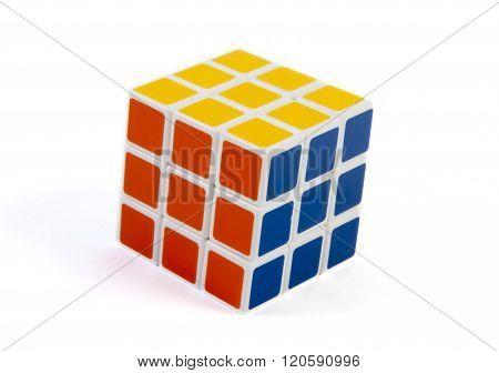 solved  rubik cube isolated on white background