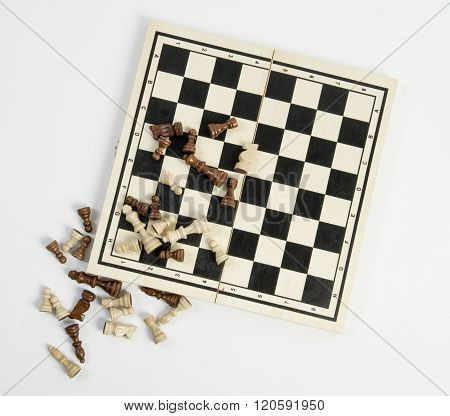 chess board with pieces isolated on white background