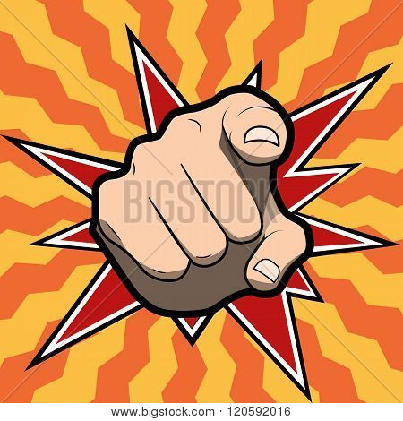 Pointing finger or hand pointing icon isolated on colored background