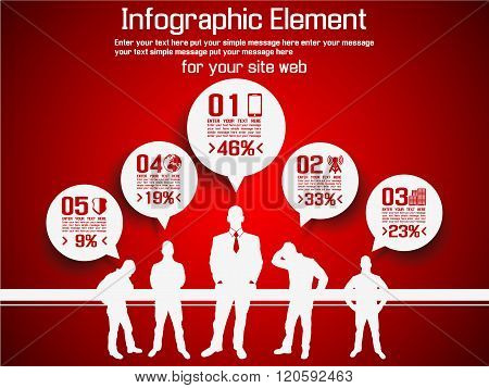 Business Man Modern Infographic Red