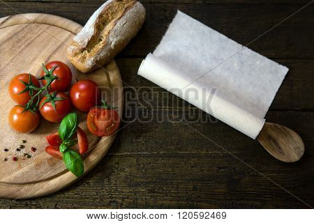 Tomatoes, Basil And Bread On A Wooden Table, Scroll With Copyspace