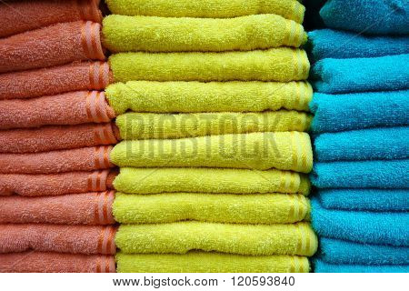 Stacks Of Multicolored Towels