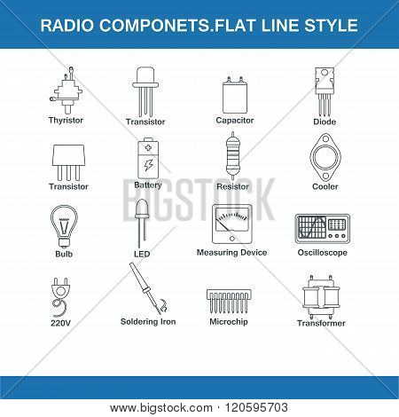Radio Components Flat Line Style