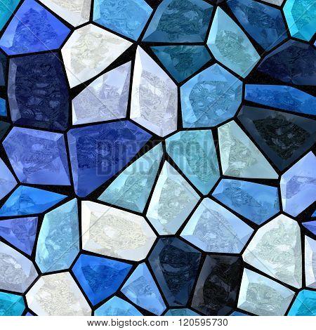 Dark Blue Marble Irregular Plastic Stony Mosaic Seamless Pattern Texture Background