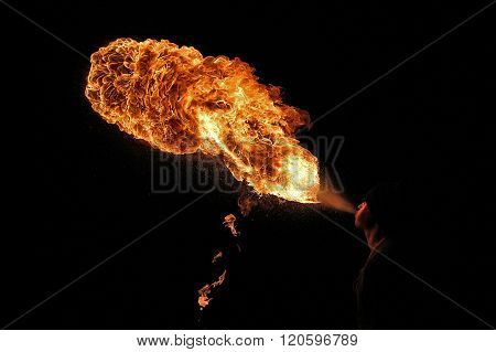 Fire Artist Performing Fire Breathing