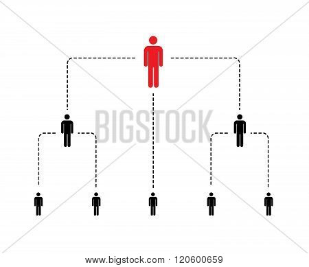 Hierarchy of company scheme with simple person icons isolated on white