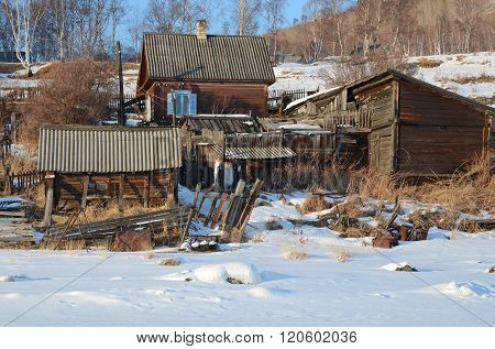 Old Angasolka village on the shore of Lake Baikal. Circum-Baikal Railway