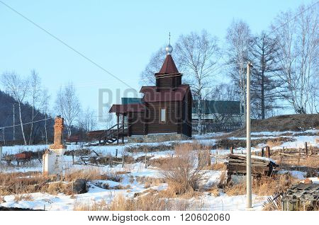 Old Angasolka village on Circum-Baikal Railway. Chapel of St. Nicholas