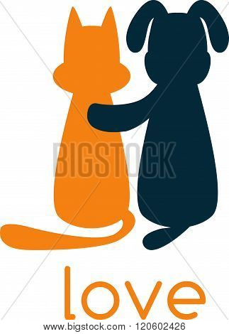 Dog Hugging Cat With Love . Concept Of Graphic Clipart Work