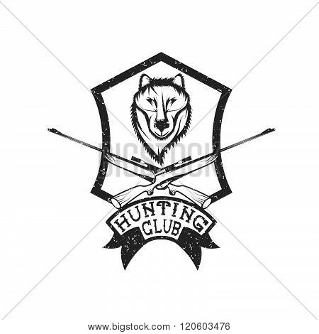 Grunge Hunting Club Crest With Carbines And Wolf