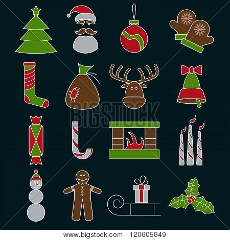 Line Craft Vector Icons Set Of Christmas Theme
