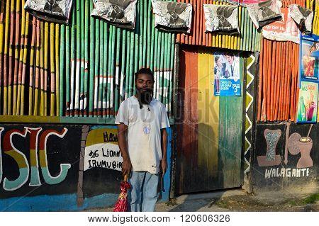 Garifuna rasta man in Livingston, Guatemala