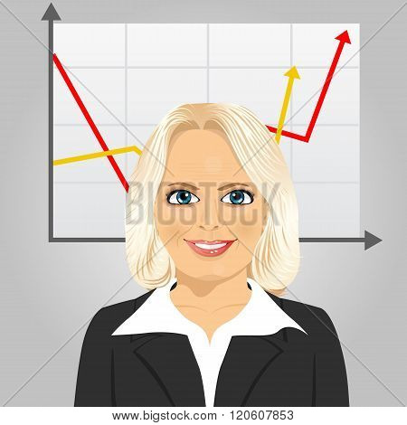 senior businesswoman on a gray background with rising arrow, representing business growth