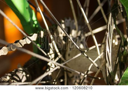 Bicycle Hub With Spokes Close-up