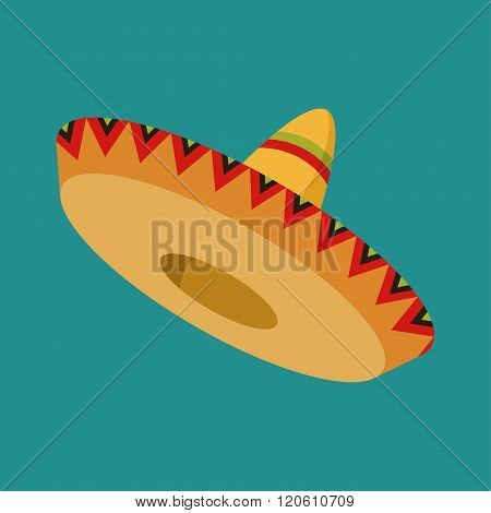 Colorful mexican sombrero with shadows isolated on green background, vector illustration
