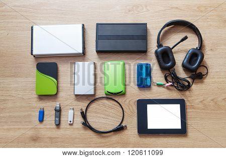 Set Of Hard Drives, Memory Cards, Card Reader, Tablet, Phones