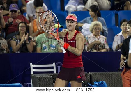 HUA HIN, THAILAND -JAN 1, 2016: Angelique Kerber of Germany in action during a match of WORLD TENNIS THAILAND CHAMPIONSHIP 2016 at True Arena Hua  Hin on January 1 2016 in Hua Hin Thailand