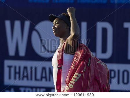 Hua Hin, Thailand -Jan 1, 2016: World No.7 Tennis player Venus Williams of USA in action during a match of WORLD TENNIS THAILAND CHAMPIONSHIP 2016 at True Arena Hua Hin on January 1 2016 in Hua Hin Thailand.