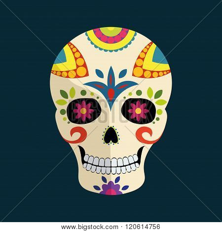 Day of The Dead mexican colorful sugar skull with floral ornament isolated on dark blue background