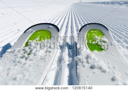 Skis On Ski Piste