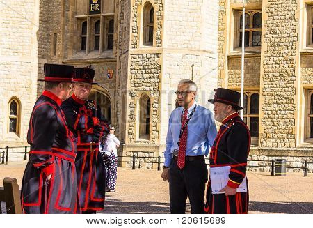 LONDON UK - JUNE 6 2015 Yeomen Warders of Tower of London (Beefeaters) in everyday undress uniform. Beefeaters are ceremonial guardians of the Tower of London.