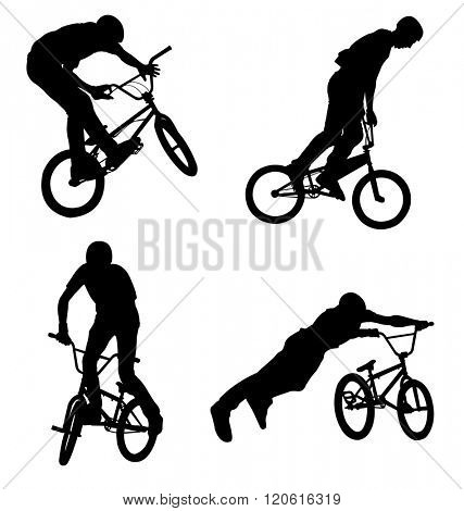 4 high quality bmx cyclist silhouettes - vector