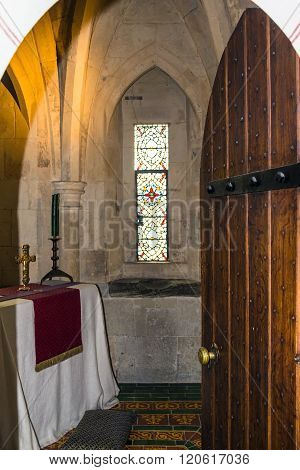 LONDON UK - JUNE 6 2015:The prayer room at recreation of Edward I's bedchamber in St Thomas's Tower. Tower of London