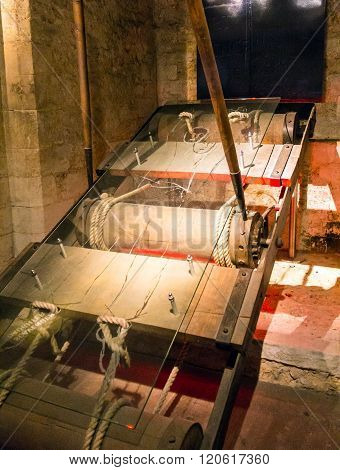 LONDON UK - JUNE 6 2015: Copy of reared instruments of torture in the basement of the tower Wakefield at Tower of London. The Wakefield Tower was built by King Henry III between 1238 - 1272