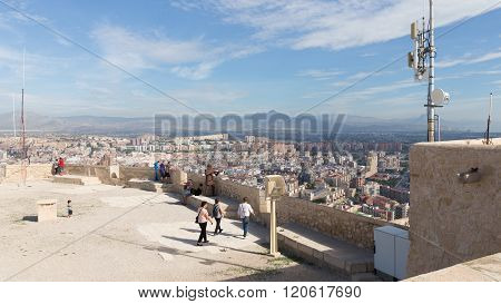 People On The Viewing Platform Of The Fortress Of Santa Barbara
