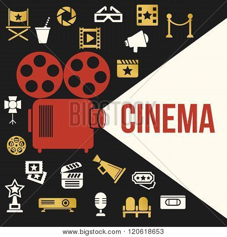 Cinema Retro Video Projector with Spotlight. Film Projector Highlights Word Cinema. Template Vector Concept with Projector Icon.