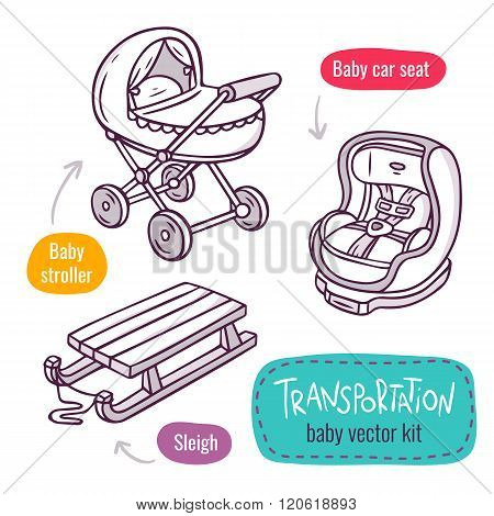 Baby Stroller, Car Seat And Sleigh - Vector Line Art Icon Set With Baby Products For Children Transp
