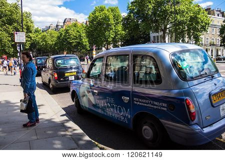 Taxi On Cromwell Gardens Street, South Kensington, London, United Kingdom