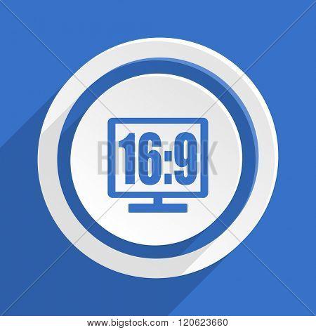 16 9 display blue flat design modern icon