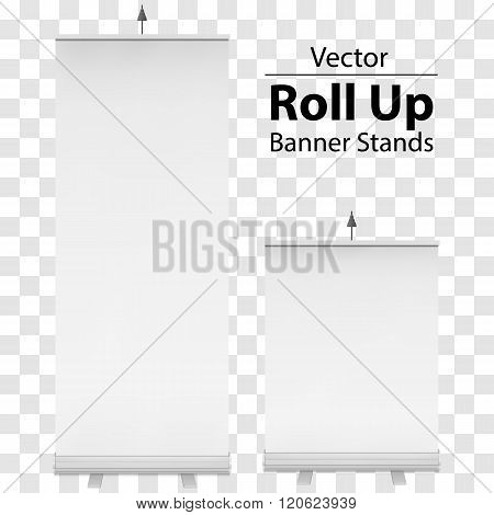 Blank Roll Up Banner Expo Stands. Trade show booth white and blank. 3d vector illustration on transparent background. Template mockup for your expo design.