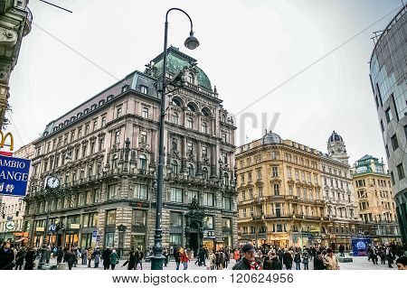 People Walking Are On The Stephansplatz Square In Vienna, Austria