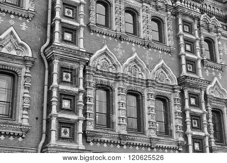 Fragment of Savior on Spilled Blood Cathedral ( Spas na Krovi ) in St.Petersburg Russia. Black and white. poster