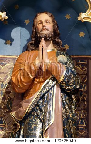 STITAR, CROATIA - NOVEMBR 24: Saint James statue on the main altar in the church of Saint Matthew in Stitar, Croatia on November 24, 2015