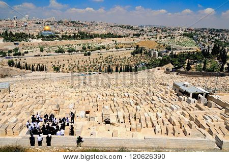 JERUSALEM, ISRAEL - JUNE 12: Jerusalem landscape with the jewish cemetery at the foreground as seen from the mount of olives on June 12, 2014 in Jerusalem.