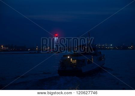 Cruise Ship Seaport In The Moonlight. Transport