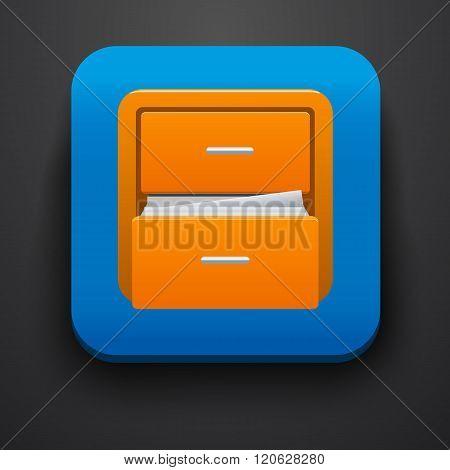 Document symbol icon on blue