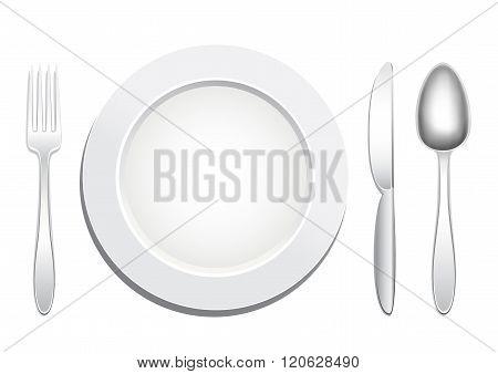 plate spoon fork knife