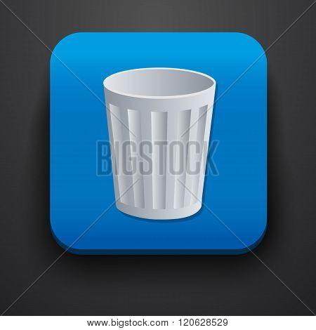 Trash symbol icon on blue