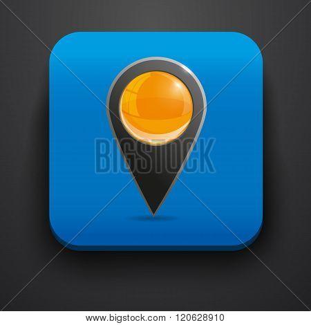 Navigator symbol icon on blue