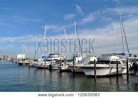 Clearwater Beach, Florida, USA - November 10, 2013 : Yachts in Clearwater Beach harbour in Florida
