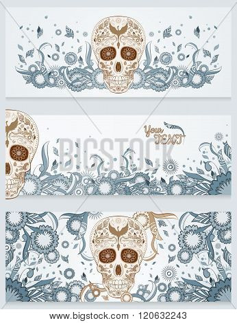 Banners of Dia de Muertos sugar skull with ornate on an abstract floral ornamental spring background