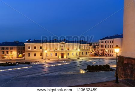 Marii Panny Square In Kielce, Poland, After Sunset.