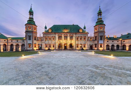 Bishop`s Palace After Sunset In Kielce, Poland