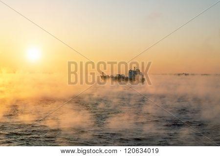 January 5 2016.Of the Baltic sea. The ship sails at dawn in the fog of the cold winter sea.Estonia